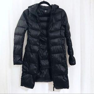🖤💙 U n i q l o Black Lightweight Hooded Coat